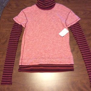 Free People Washed Red Combo Turtleneck Tee Shirt